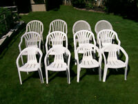 12 – ASSORTED RESIN PATIO CHAIRS – ALL ONE PRICE!