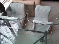 White Wicker & Glass End Tables