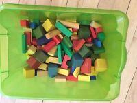 Box of kids wooden bricks