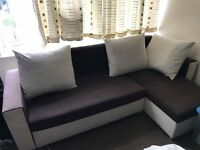 Corner sofabed with 3 cushions sleeps 2