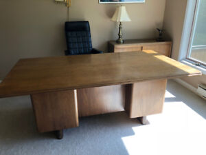 High end executive solid maple desk and credenza