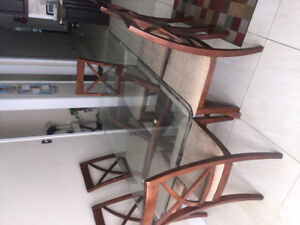 7 Piece Glass Dining Table Set