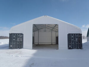 Shipping Container Storage Building - Engineered Fabric Building