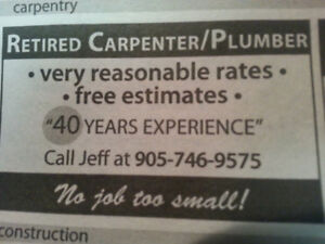 Semi-Retired Plumber/Carpenter, Seniors low hourly rate
