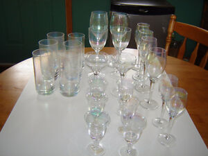 Retro iridescent glassware and bowl - bar items London Ontario image 1