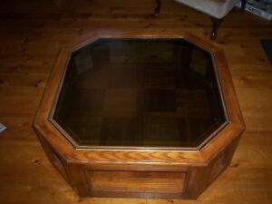 OCTAGON WOOD AND TINTED GLASS TOP TABLE