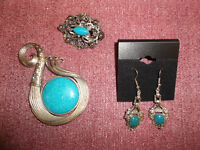 Blue jewelry pieces - ALL for $10 (earrings, broach + pendant)