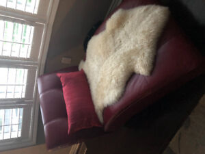 Red leather chaise