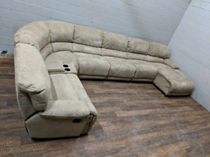 Massive Cow-hide sectional couch, 7-pieces. FREE DELIVERY