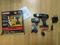 18 volt cordless Craftsman 3/8 inch drill, 2 batteries and more!