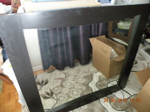 Large Black wood frame Contemporary Mirror 44 1/2'' x 41''