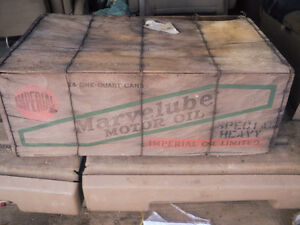 RARE 1930 IMPERIAL MARVELUBE WOOD/WIRE MOTOR OIL 24 QUART CASE