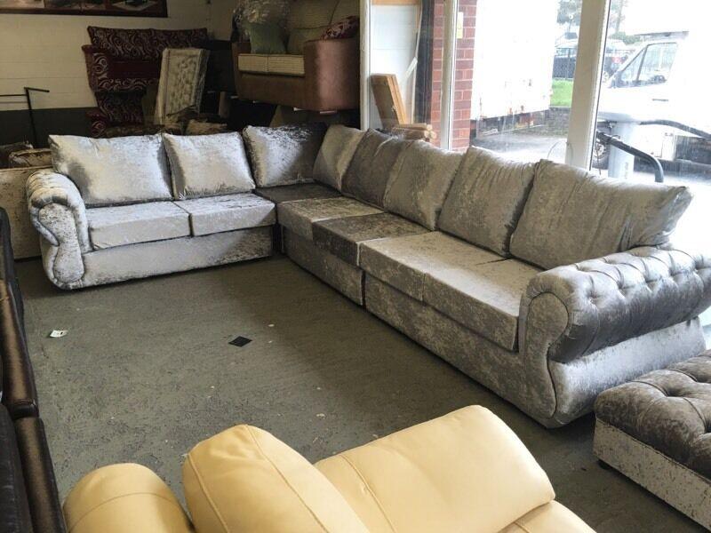 Large Corner Sofa Silver Crushed Velvet Chesterfield