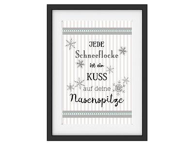 INTERLUXE Kunstdruck JEDE SCHNEEFLOCKE IST EIN KUSS Geschenk Winter DIN A4