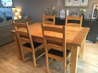 SOLID OAK EXTENDABLE DINING TABLE SET