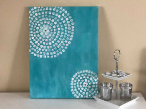 Antique style teal acrylic painting decor