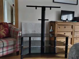 Serano Black Glass 3 Shelf TV Stand with Bracket
