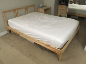 IKEA slat bed frame and mattress, plus duvet