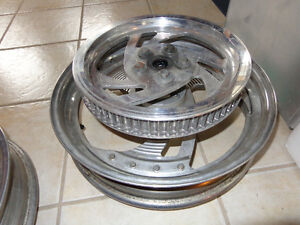 "Harley 16"" alum. Rims and belt drive pulley  recycledgear.ca"