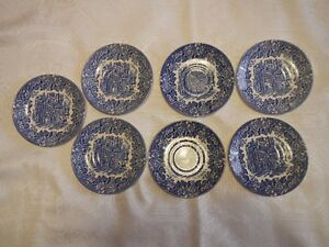 Vintage Dickens Series Hand Engraved Bread Plates (7) English