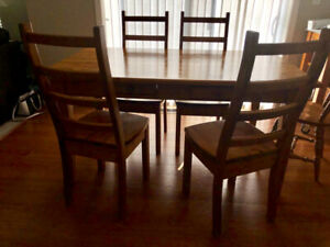 North White Pine table and 4 chrs. Signed by maker-Pebblecreek