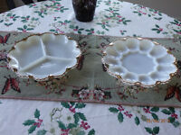 ♥ Two white with gold trim serving dishes ♥