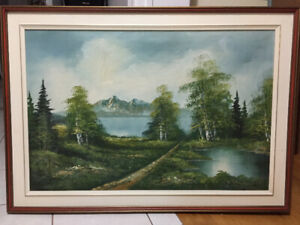 Beautiful Mid-Century Singed Landscape Original Oil Painting