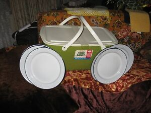 RETRO PICNIC BASKET/PLATES $20 FOR ALL