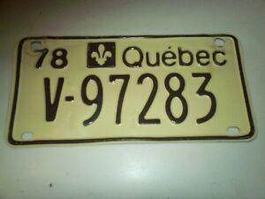 plaque immatriculation du québec 1978