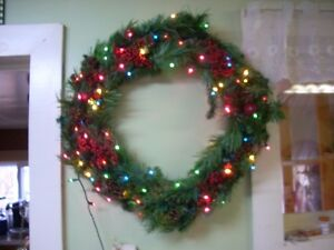 large wreath with lights 27 inches across