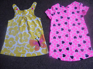 2 years of girls a pink black hearts t-shirt and a yellow dress