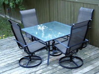 Patio Furniture - Table and 4 Swivel Chairs