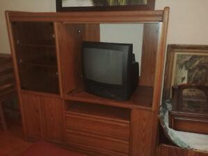 Large oak family entertainment unit for sale