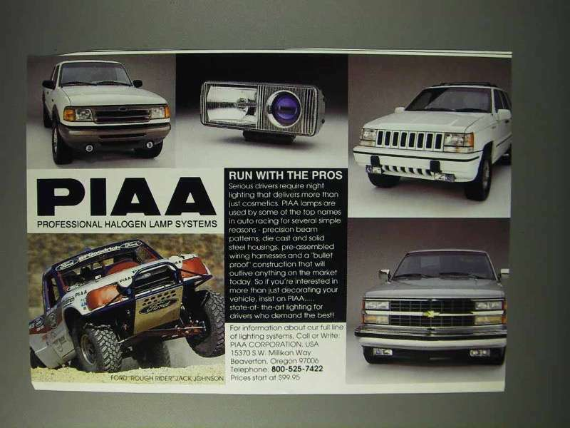 1993 PIAA Professional Halogen Lamp Systems Ad