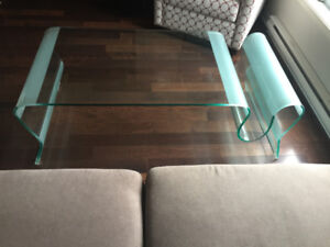 Table a Cafe En Verre Moderne ** Modern Glass Coffee Table