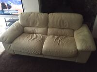 Cream leather large 2 seater sofa for sale