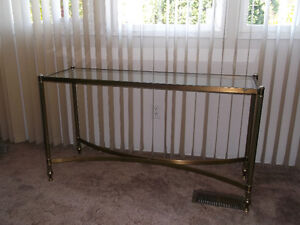 ANTIQUE BRASS AND GLASS TABLES SET OF 2