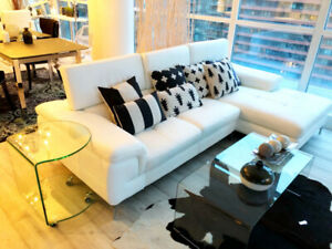 White leather sectional -like new