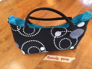 REVERSIBLE - TURQUOISE and BLACK print PURSE / HANDBAG