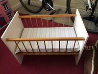 Wooden Dolls' Cot with mattress and blankets
