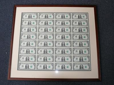 CUSTOM BROWN FRAME IVORY GREEN DOUBLE MAT FOR $1 bill 32 Uncut Sheet of Money