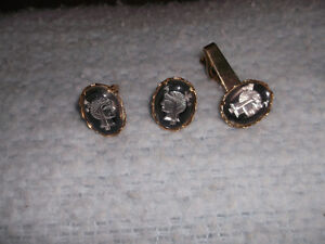 Cufflinks & Tie Pin gold plater with silver inlay & more