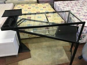 GLASS TOP STUDENT DESK WITH FOLDABLE RETURN Bentley Canning Area Preview