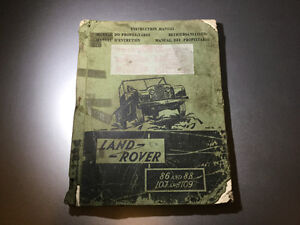 1954-58 Land Rover Series 1 Instruction Manual 86, 88, 107, 109