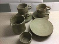 Set of pottery crockery cups saucers plates etc