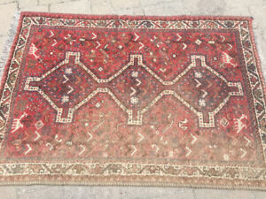FREE Wool Tribal Rug 5'  x 3.5' Faded on one long side