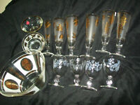 Collection of Gold-Trimmed Glassware