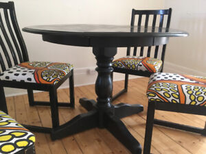 Round  Birchwood Dining Table with leaf and chairs