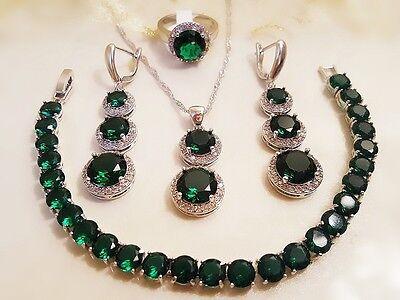 Smaragd-SchmuckSet 925 Sterlingsilber Ring Gr.54(17) Halsketten-Anhänger-Armband
