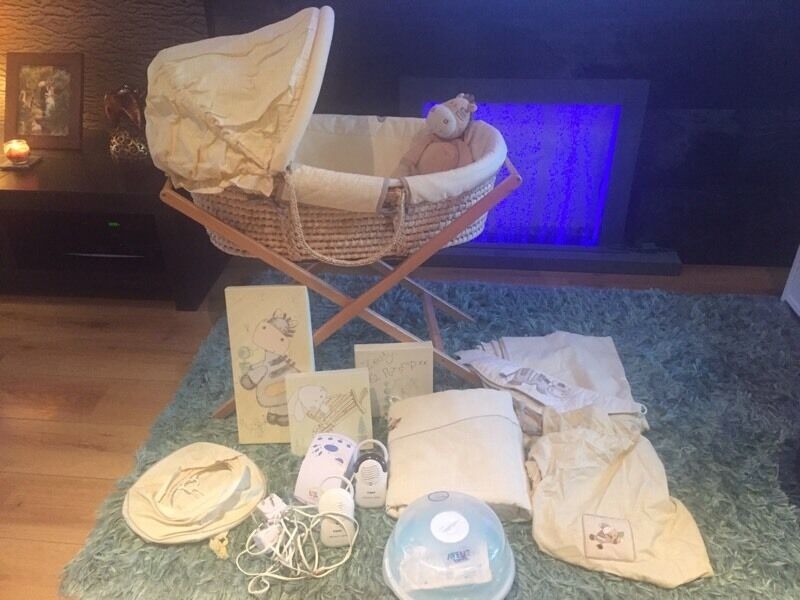 Mamas and papas nursery, Moses basket, curtains, light,etc , ideal for new baby coming.
